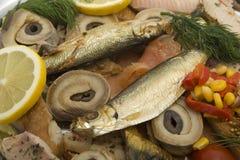 Lasche mit geräucherten Fischen Stockbilder