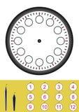 Lasci il ` s fare un orologio, foglio di lavoro per i bambini illustrazione di stock