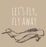 Lasci la mosca del ` s, mosca via Schizzo dell'aeroplano Illustrazione disegnata a mano per la vostra progettazione: t Immagini Stock Libere da Diritti