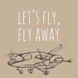 Lasci la mosca del ` s, mosca via Schizzo dell'aeroplano Illustrazione disegnata a mano per la vostra progettazione: t Fotografie Stock