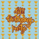 Lascia l'iscrizione della festa di compleanno mandare un sms a come distintivo, l'etichetta, l'icona, la carta della celebrazione royalty illustrazione gratis