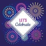 Lascia per celebrare il manifesto I fuochi d'artificio della celebrazione di vacanza invernale, fuoco d'artificio del partito di  illustrazione di stock