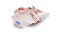 Lasciando euro monetario, euro isolato Fotografie Stock