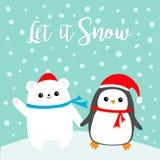 Lasciate esso nevicare Cucciolo di orso bianco polare dell'uccello del pinguino di Kawaii Cappello rosso di Santa Claus, sciarpa  illustrazione di stock