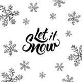 Lasciate nevicare! Iscrizione scritta mano e natale disegnato a mano Immagini Stock Libere da Diritti