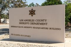 LASD Sheriff Alex Villanueva sworn in as new Sheriff. LOS ANGELES, CA - DECEMBER 7, 2018: Alex Villanueva, a retired LASD Lieutinant and democrat was sworn in as royalty free stock images