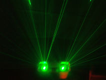 Laser. Green laser on the party Stock Image