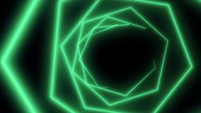 Laser abstracts futuristic Background. Neon lights vintage Hexa tunnel loop. Tunnel Neon laser hexagon.  stock illustration