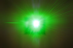 Laser Beam POV. Green laser beam from medical equipment shining into the camera Royalty Free Stock Image
