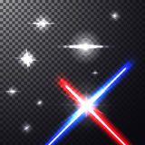Laser beams. Realistic bright colorful laser beams. Crossed light swords on  transparent black background with stars. Weapon futuristic from star war. Vector Royalty Free Stock Image
