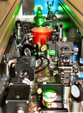 Laser cavity. Interior of a modern femtosecond laser on titanium-doped sapphire royalty free stock photos