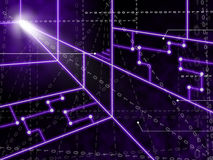 Laser Circuit Background Shows Bright Energy Stock Photography