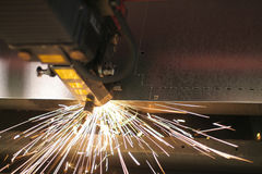 Laser close-up. Lasercutting close-up from metalwork industry Stock Photos