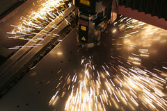 Laser close-up. Lasercutting close-up from metalwork industry Stock Images
