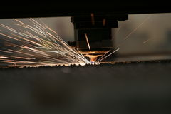 Laser close-up. Lasercutting close-up from metalwork industry Royalty Free Stock Photos