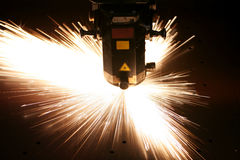 Laser close-up. Lasercutting close-up from metalwork industry Royalty Free Stock Images