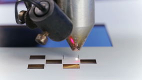 Laser cnc machine cutting square pattern stock video