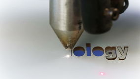 Laser cnc-Maschinenschneidtechnikwort Lizenzfreie Stockfotos