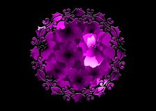 Free Laser Cut Border Mandala Of Purple Flowers, Pink Floral Pattern With Blooming Hibiscus Flowers, Botanical Print Vintage Textile Royalty Free Stock Photos - 137145068