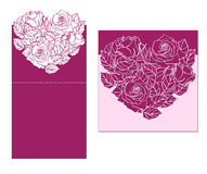 Laser cut  card temlate with rose heart ornament. Cutout p Stock Image