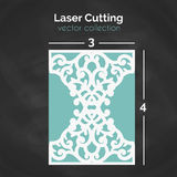 Laser Cut Card. Template For Cutting. Cutout Illustration. Royalty Free Stock Images