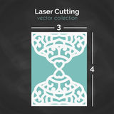 Laser Cut Card. Template For Cutting. Cutout Illustration. Royalty Free Stock Photos