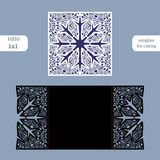 Laser cut christmas square card template. Cut out the paper card with lace pattern.  Greeting card template for cutting plotter. C Stock Images