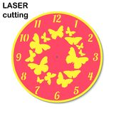 Laser cut clock with butterflies for interior. Template laser cutting machine for wood and metal.  Stock Photo