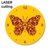 Laser cut clock with low-poly butterfly for interior. Template laser cutting machine for wood and metal stock illustration