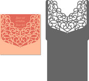 Laser cut envelope template for invitation wedding card. Laser Cut Invitation Card. Laser cutting pattern for invitation wedding card. Wedding invitation Royalty Free Stock Photos