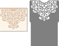 Laser cut envelope template for invitation wedding card. Laser Cut Invitation Card. Laser cutting pattern for invitation wedding card. Wedding invitation vector illustration