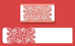 Laser cut envelope template for invitation wedding card. Paper greeting card with lace border. Paper greeting card with lace border, pattern of roses. Cut out stock illustration