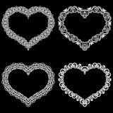 Laser cut frame in the shape of a heart with lace border. A set of the foundations for paper doily for a wedding. A set of valen. Tines or photo frames. Vector vector illustration