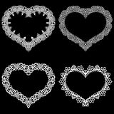 Laser cut frame in the shape of a heart with lace border.  A set of the foundations for paper doily for a wedding.  Vector templat Stock Images