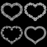 Laser cut frame in the shape of a heart with lace border.  A set of the foundations for paper doily for a wedding.  Vector templat Royalty Free Stock Photo