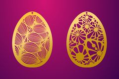 Laser Cut Happy Easter Egg. Vector stencil ornamental Easter egg. With carved openwork naturel pattern. Template for interior design, decorative art objects royalty free illustration