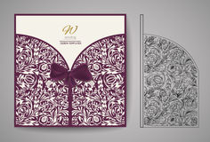 Laser Cut Invitation Card. Laser cutting pattern for invitation wedding card. Vector Stock Photography