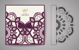 Laser Cut Invitation Card. Laser cutting pattern for invitation wedding card. Vector Royalty Free Stock Photo