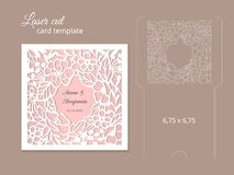 Laser cut invitation card template. Wedding invitation template for laser cutting or die cutting. Die cut paper card with rose flowers Royalty Free Stock Image