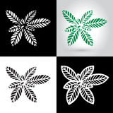 Laser cut leaf logo, cutout paper leaves icon. Laser cut leaf card, cutout paper leaves icon template, nature ornament cutting, foliage stencil decoration, green Royalty Free Stock Photo