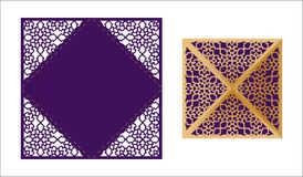 Laser cut ornamental Lace-bordered vector template. Luxury Greet. Ing card, envelope or wedding invitation card template. Four triangular flaps that fold over Royalty Free Stock Photos