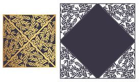 Laser cut ornamental Lace-bordered vector template. Luxury Greet. Ing card, envelope or wedding invitation card template. Four triangular flaps that fold over Royalty Free Stock Photography