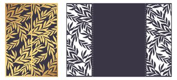 Laser cut ornamental vector template. Luxury Greeting card, enve. Lope or wedding invitation template. Die cut paper gate fold card with openwork floral ornament Royalty Free Stock Photography
