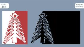 Free Laser Cut Out Christmas Card Template. Die Cut Paper Card With Pattern Of Christmas Tree . Cutout Paper Gate Fold Card For Laser Stock Photos - 101649563