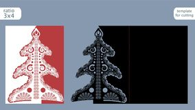 Laser cut  out christmas card template. Die cut paper card with pattern of christmas tree . Cutout paper gate fold card for laser Royalty Free Stock Photos