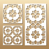 Laser cut panel. Die cut card. Laser cut vector panel. Cutout silhouette with geometric pattern. A picture suitable for printing, engraving, laser cutting paper Stock Photography
