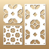 Laser cut panel. Die cut card. Laser cut vector panel. Cutout silhouette with geometric pattern. A picture suitable for printing, engraving, laser cutting paper Stock Image