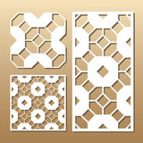Laser cut panel. Die cut card. Laser cut vector panel. Cutout silhouette with geometric pattern. A picture suitable for printing, engraving, laser cutting paper vector illustration