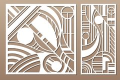 Free Laser Cut Panel. Set Decorative Card For Cutting. Geometry Line Art Pattern. Ratio 1:2, 1:1. Vector Illustration Royalty Free Stock Image - 148875586