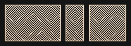 Free Laser Cut Panel Set. Vector Template With Geometric Pattern, Lines, Stripes Stock Photos - 173760133